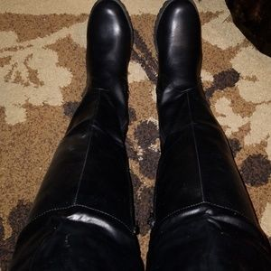 Shoes - Black Thigh Studded Back Boots
